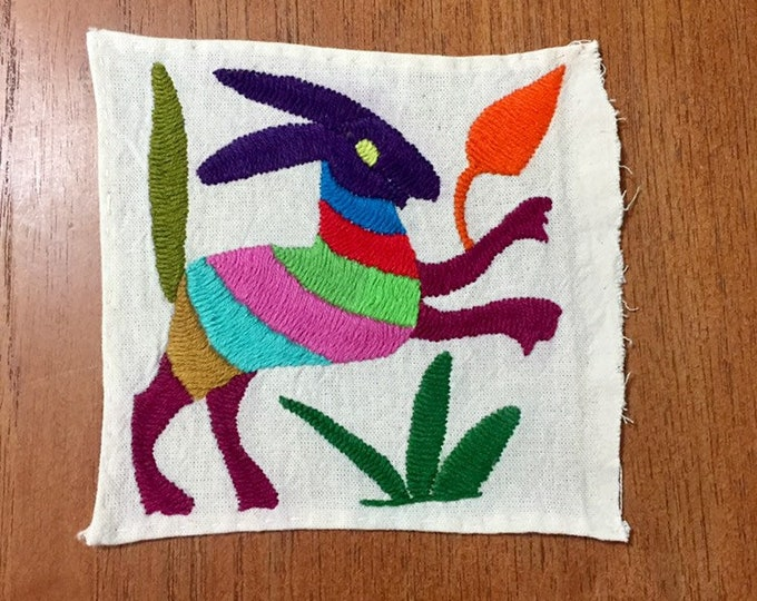 """Otomi hand embroidered  muslin coaster/cocktail napkin /  frame-able art - with spirit animal approx. 5"""" x 5"""""""