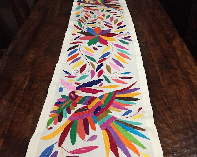 Otomi Hand Embroidered Extra Long Table Runner - Multi-color