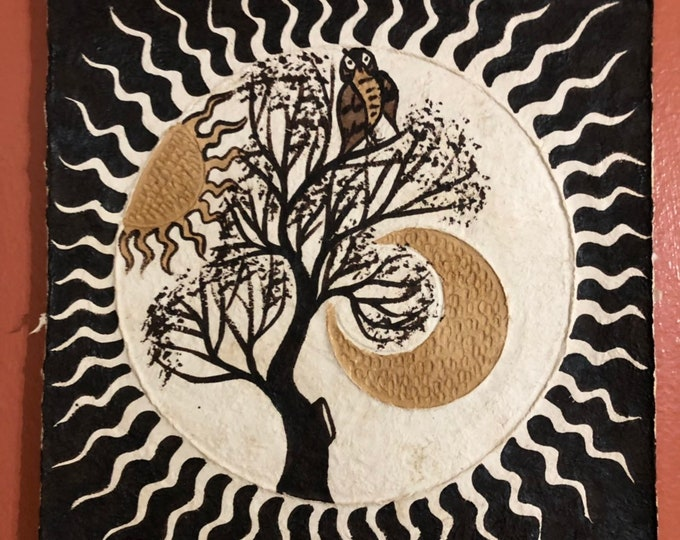 Handmade Amate Paper Wall Art with Owl, Sun, Moon, and Tree from Mexico