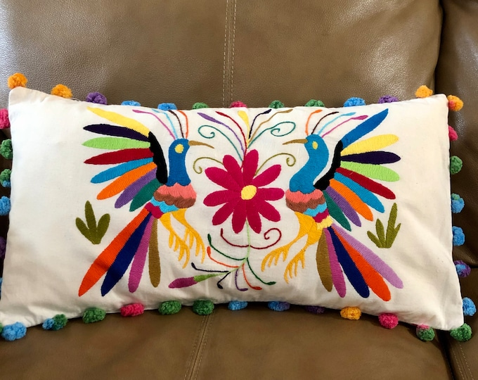 Otomi hand embroidered decorative pillow with birds and flowers