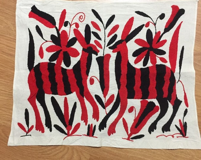 """Hand embroidered Otomí placemat /frame-able art (approx. 17"""" x 13"""") - Red and Black"""