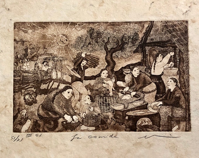 La Comida by Nicolas de Jesus. Limited Edition Aquatint print on Amate bark paper.