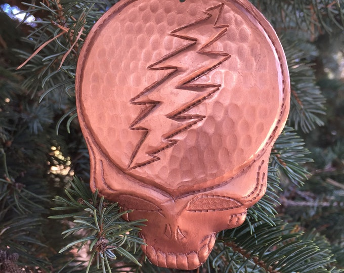 Handcrafted Hammered Copper Steal Your Face Christmas Tree Ornament