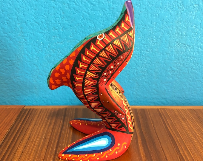 Alebrije Dolphin Handcrafted Wood Carving by Zeny Fuentes & Reyna Piña from Oaxaca, Mexico.