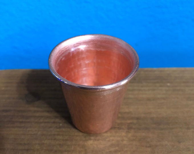 Handcrafted 1oz pure hammered copper shot glass tasting cup