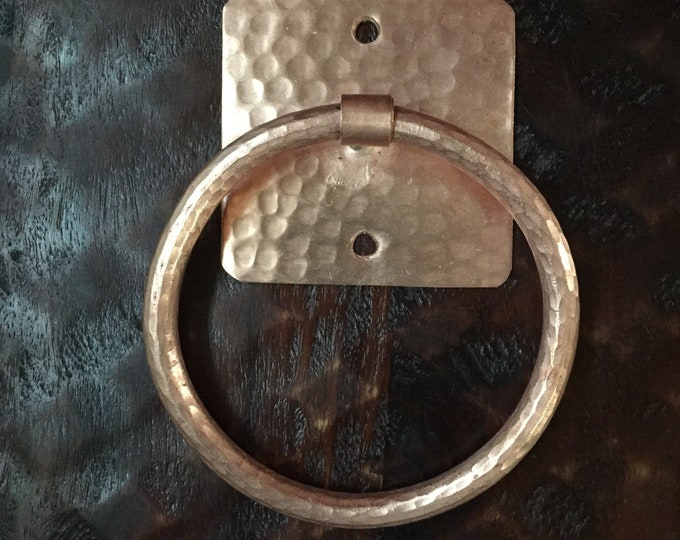 Handcrafted Hammered Copper Towel Ring / Towel Rack
