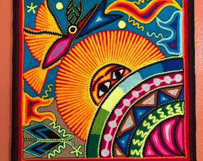 "Huichol Yarn Painting from Nayarit, Mexico (11.75"" x 11.75"")"