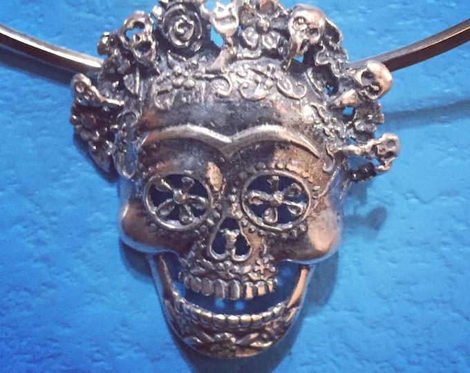 Sterling Silver Calavera Skull Pendant
