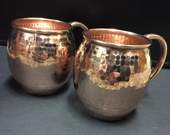 2 pack of 13oz Moscow Mule Hammered Copper Barrel Mug