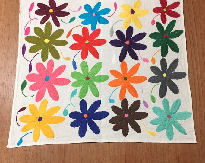 """Hand embroidered Otomí placemat /frame-able art (approx. 16"""" x 13"""") - multicolor flowers"""
