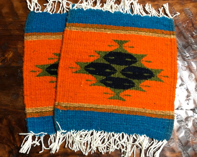 "Zapotec hand woven merino wool trivets hot pads 10"" x 10"" matching set of two"