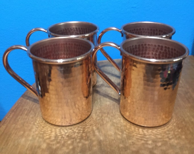 4-pack of 16oz Moscow Mule Copper Mugs, hammered
