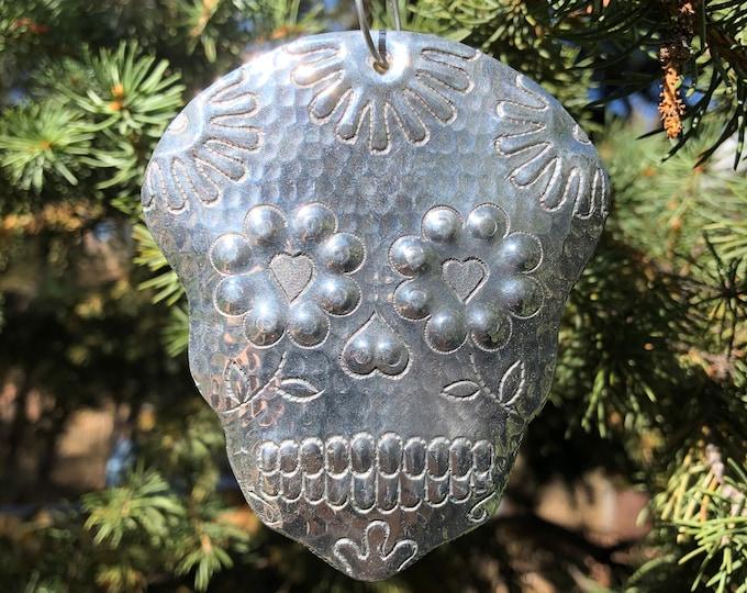 Handcrafted Hammered  Aluminum Calavera Skull Christmas Tree Ornament