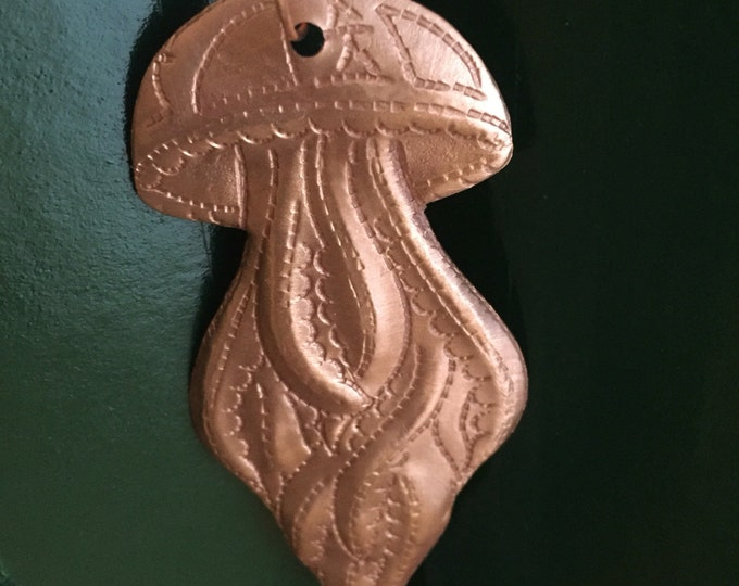 Handcrafted Pure Hammered Copper Jellyfish Ornament