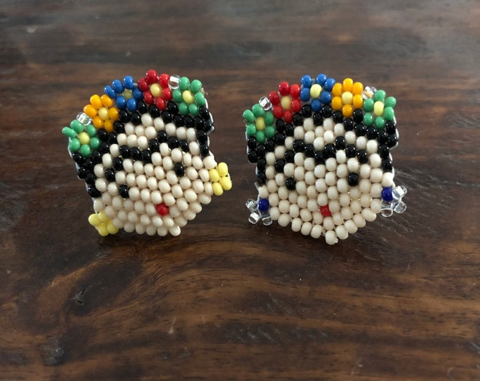 Colorful Chaquira Beaded Frida Stud Earrings from Pahuatlán del Valle, Puebla, Mexico.
