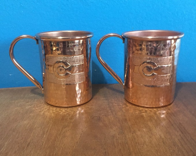 2-pack of 16oz Moscow Mule Copper Mugs, hammered w/ Colorado Flag engraving