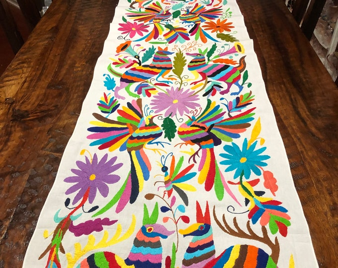 "Otomi Hand Embroidered Table Runner /Bed Scarf /  Frame-able Art with Multi-color Embroidery (approx. 72"" x 18"")"