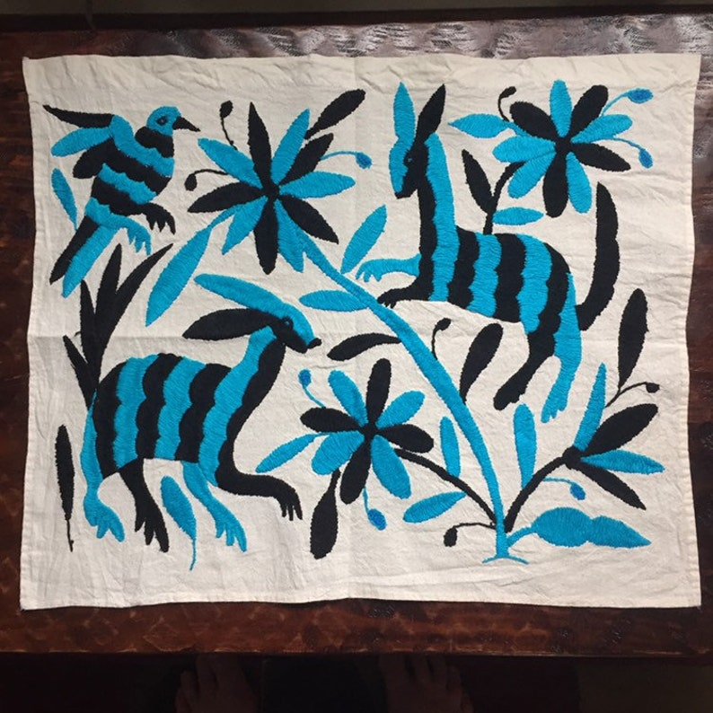 Turquoise and Black approx. 17 x 13 Hand embroidered Otom\u00ed placemat frame-able art