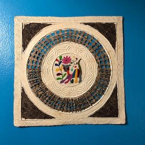 Amate Bark Paper Wall Art with Otomi Designs 7 34\u201d x 7 34\u201d
