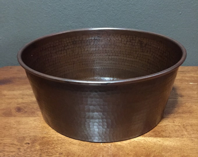 Large Hammered Copper Pet Water Bowl with Brown Patina
