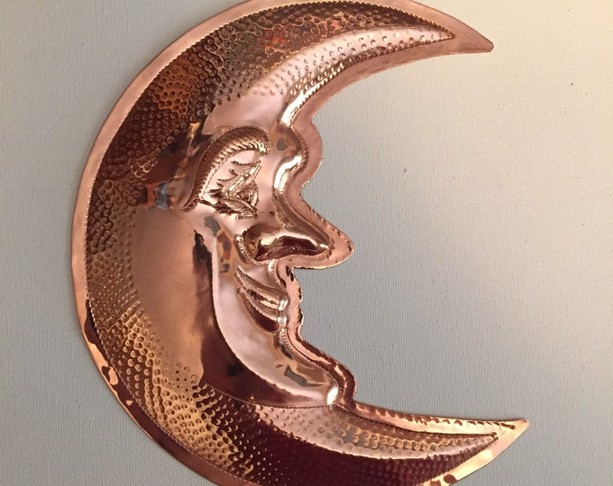 """Handcrafted Pure Hammered Copper Crescent  Moon 7""""x8"""""""
