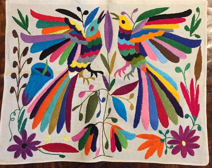 """Hand embroidered Otomí placemat (approx.17"""" x 13"""") - multi-color"""