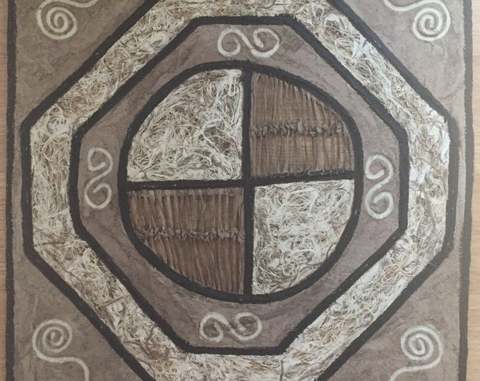 Amate Bark Paper Wall Art with Swirl Design