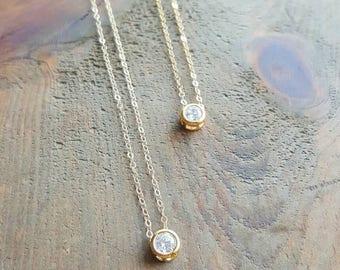 Mini Diamond Necklace, Dainty Gold Necklace, Minimalist Necklace, Layering Necklace, Diamond Necklace, Layering  Necklace, Bridesmaid,Bride
