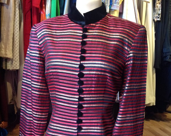 Vintage JS Collections Red Striped Jacket