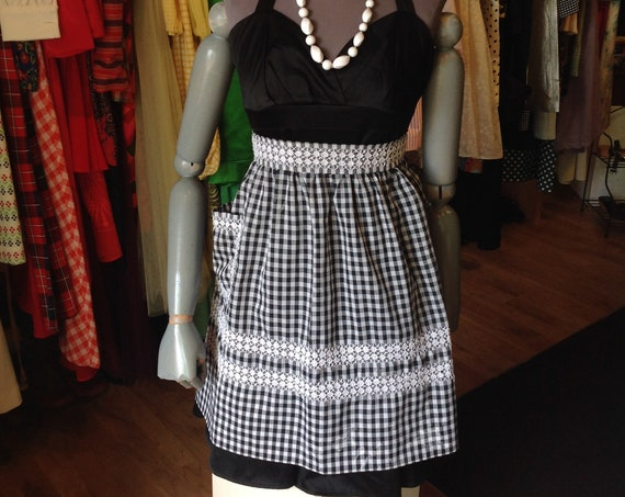 Vintage Black Checkered Apron