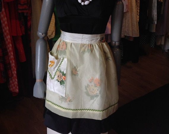 Vintage Yellow and Orange Floral Half Apron