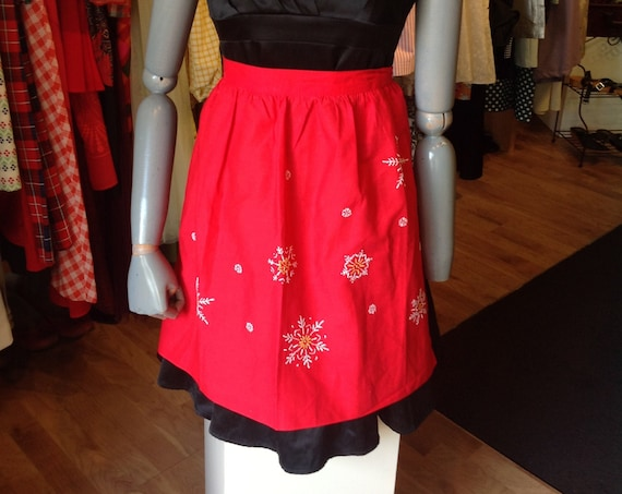 Red embroidered Snowflake Apron