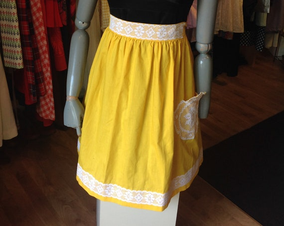 Yellow Lace-Trimmed Apron