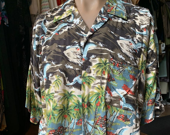 "Vintage ""Ocean Currents"" original special brand aloha shirt"