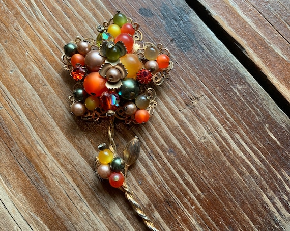 Vintage Beaded Flower Brooch