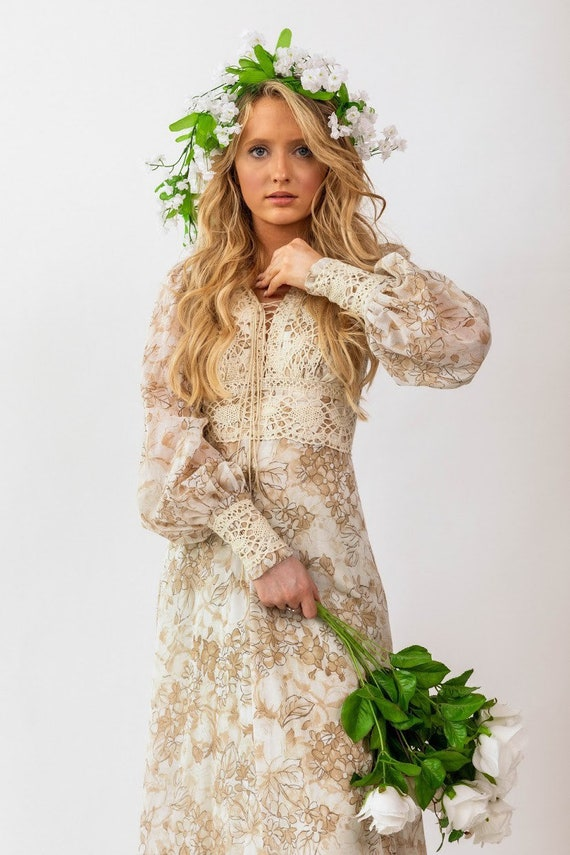 Gunne Sax brown floral boho Prairie Dress - image 1