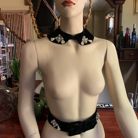 1960s Lady Charme black velvet rhinestone collar necklace and matching belt set