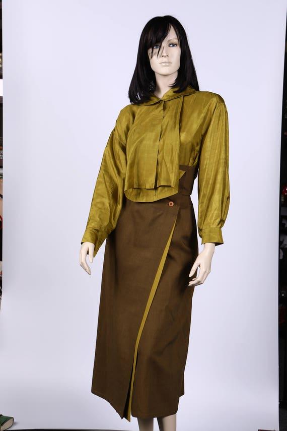 Issey Miyake Silk Blouse and Skirt