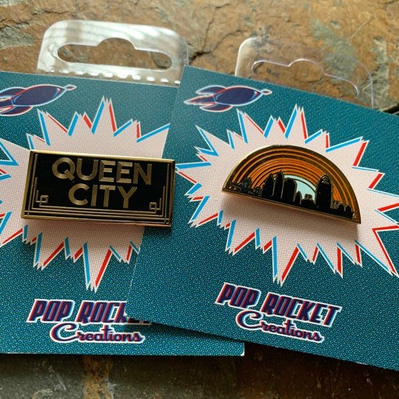 Pop Rocket Creations Queen City Cincinnati skyline Enamel Pin