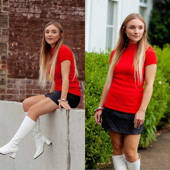 Vintage red short sleeve sweater
