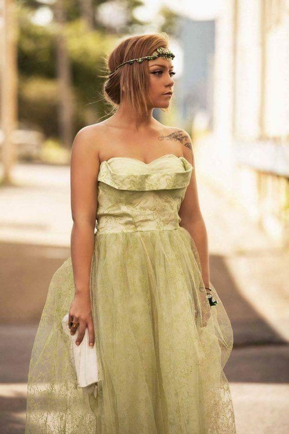Vintage Green tulle prom dress
