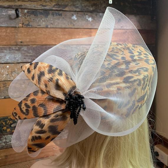 Vintage leopard print straw formal hat