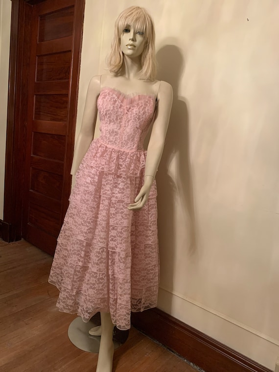 Pink lace strapless prom dress