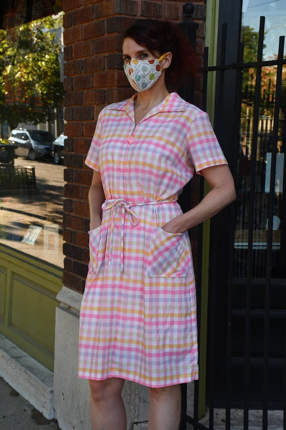 Multicolor Gingham 60s housedress