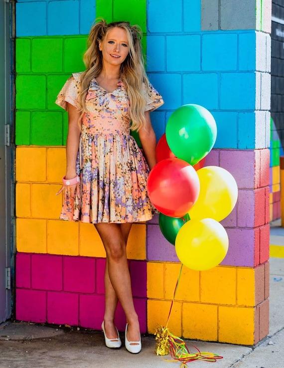 1960s floral pastel party dress