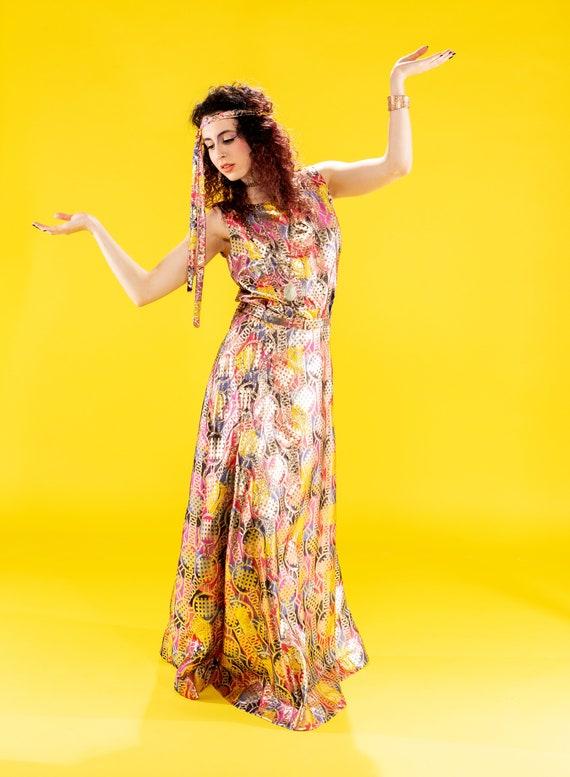 Colorful metallic gold skirt set - image 1