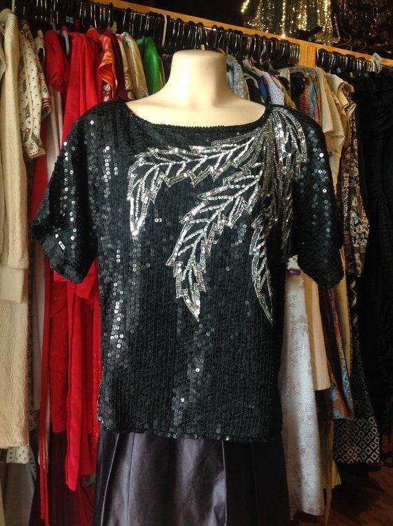 Vintage Jewel Queen Black Sequin Blouse