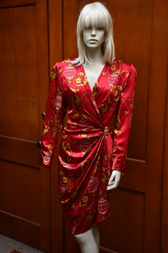 Red and gold wrap dress