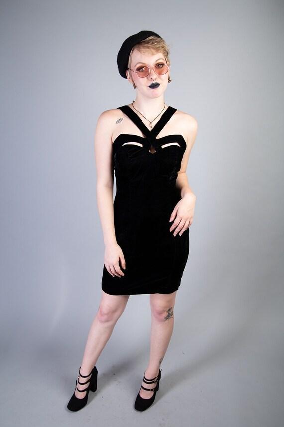 90s velvet Fredericks of Hollywood dress