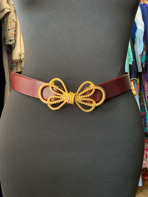 Vintage Brown Belt with Gold Bow Clasp